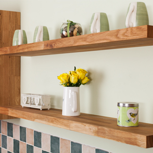 Our bespoke cutting service is not just for wood kitchen worktops – we offer bespoke floating shelves too!