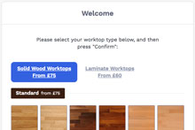 Opening the bespoke online worktop tool, select either wooden or laminate worktops