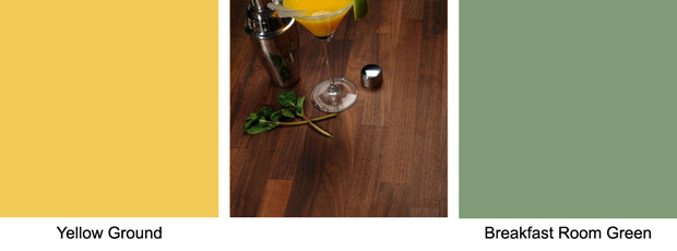 Black American walnut worktops are strikingly elegant, and look fabulous next to Yellow Ground or Breakfast Room Green