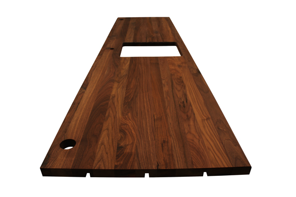 This full stave black American walnut worktop is now part of an L-shaped kitchen