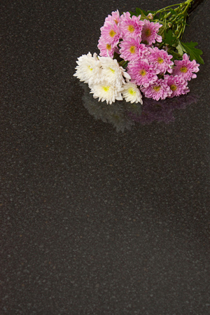 Black gloss laminate worktops with a high-shine surface.