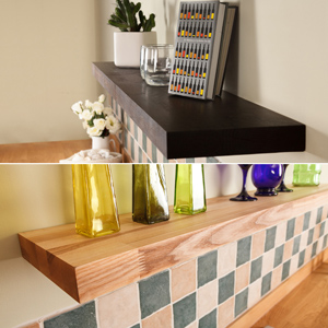 Black oak & ash solid wood work top floating shelves now available.