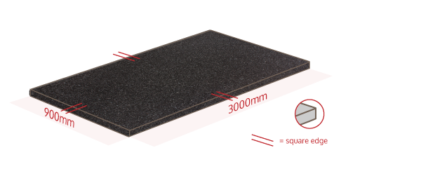 Black Gloss Square Edge Work Surface Dimensions