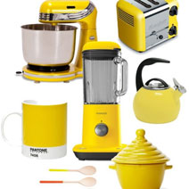 Bold colours can also be incorporated through the use of brightly-coloured small kitchen appliances and accessories.