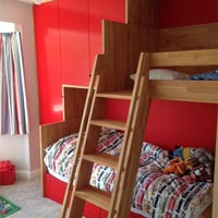A child's bunkbed made from wood