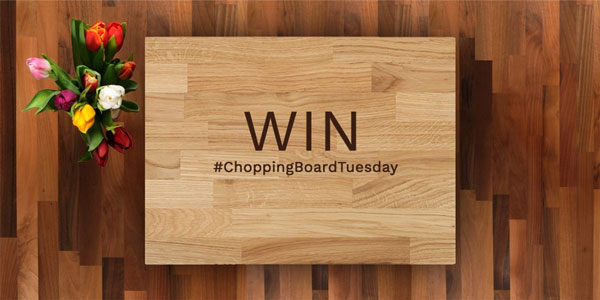 Competition text written on one of our solid wood chopping boards