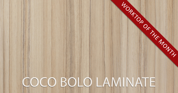 Coco Bolo laminate kitchen worktops are textured to recreate the feel of real timber