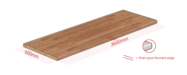 Colmar Oak Work Surface Dimensions