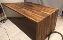A desk made from our beautiful walnut worktops.