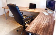Full stave zebrano with radius corners makes a simply stunning desk space Wooden Work Surfaces.