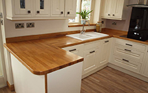 Prime oak worktops with radius corners and a pencil edge profile Wooden Work Surfaces.