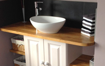 Oak worktops in the bathroom