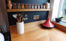 Our solid oak floating shelves are a beautiful accessory for wooden kitchens.