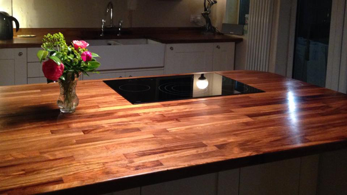 Attractive Iroko Worktops Used To Create A Spacious Kitchen Island. Spalding,  Lincolnshire. Iroko Worktops Used To Create A Spacious Kitchen Island.