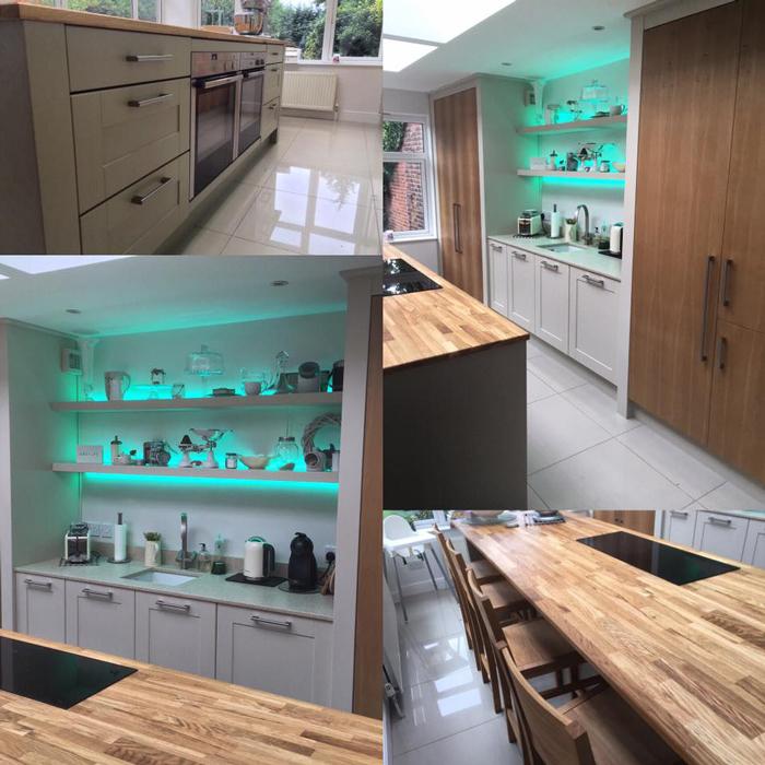 Kitchen Worktop Lighting: Customer Kitchen Wooden Worktop Gallery