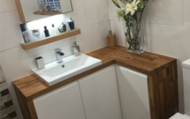 Oak worktops aren't just for the kitchen, they can also be used to great affect in bathrooms and other parts of the home.