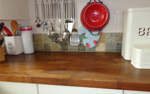 Retro-styled kitchen accessories look superb against our solid oak worktops.
