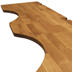 Deluxe Oak worktop with irregular cut outs and pencil top edge profile