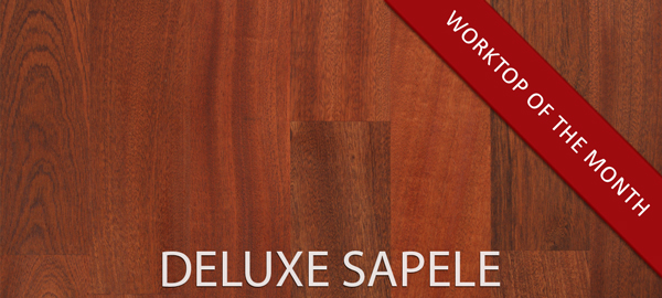October's Worktop of the Month – Deluxe Sapele worktops with 90mm wide staves.