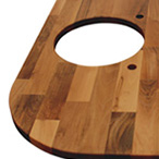 Deluxe walnut worktop with undermounted sink cut out, radius corners, tap holes and additional hole cut out