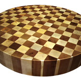 Maple and Walnut End Circular Grain Butcher Block