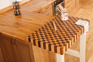 Endgrain butcher blocks are an elegant, unique food preparation space for kitchens.