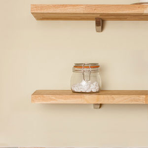Floating shelves are an easy way of adding additional kitchen storage.