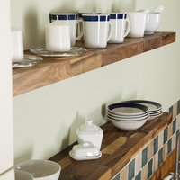 Floating shelves are available in a range of timbers to match your kitchen worktops.