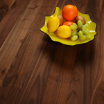 Our full stave black American walnut worktops have continuous, 90mm wide staves.