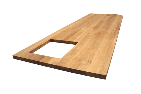 This particular Full Stave Prime Oak worktop was custom-made to create a kitchen island top.