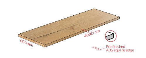Rustic Oak Square Edge Work Surface Dimensions