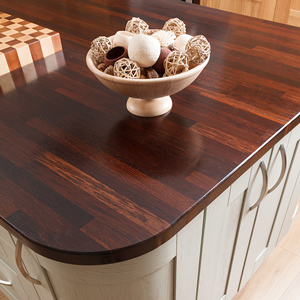 Wenge worktops on a kitchen island