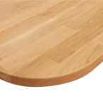 Deluxe Prime Oak worktop with radius corner and pencil top edge profile.