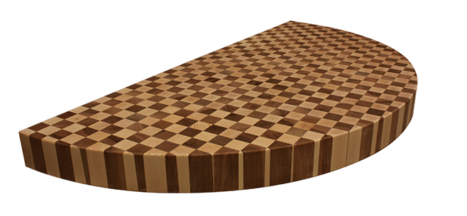 Maple and Walnut End Grain Butchers Block cut into a semicircle.