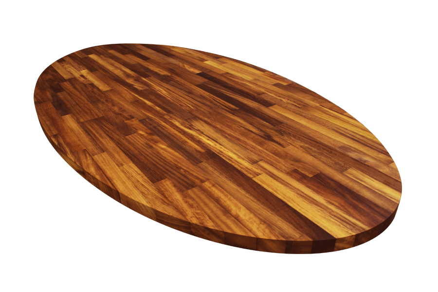 An elliptical iroko worktop