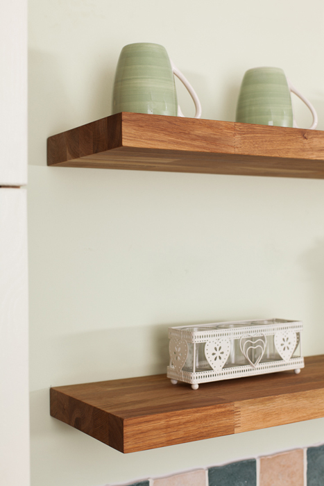 Oak Floating Shelves Are A Perfect Accessory For Providing Additional  Storage Space In A Country Kitchen.
