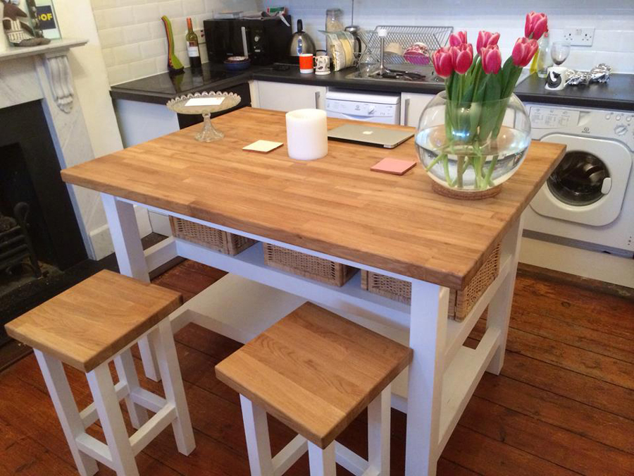 Oak worktop gallery for Dining table overhang