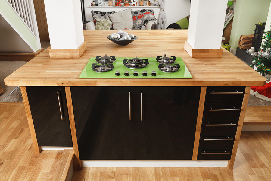 Delectable White Kitchen Cabinets Slate Floor Gallery This Large Kitchen Island Combines Solid Oak Worktops And Other