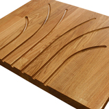 Oak worktop with fountain drainage grooves