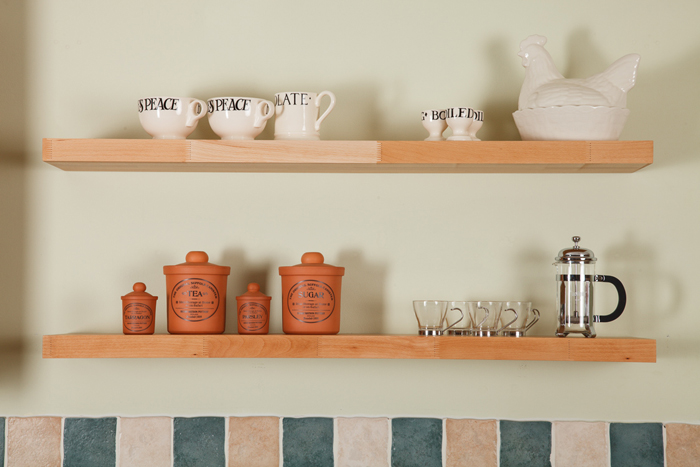 For A Rustic Wooden Kitchen, Choose Our Solid Beech Floating Shelves.