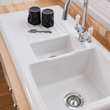 This 1.5 bowl Reginox Ceramic Sink with Drainer combines perfectly with solid ash worktops.