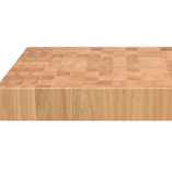 A 100mm thick rectangular oak end grain butchers block.