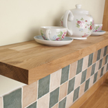 Our 30mm solid oak floating shelves have a slimline appearance that is ideal for contemporary wooden kitchens.
