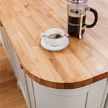 Ash worktops such as this have a distinctive linear brown grain, yet overall the timber is lighter than oak.