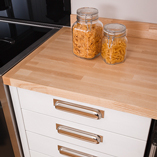 Our ash worktops are provided with a square edge as standard, though we do offer edge profiling as part of our bespoke worktops service.