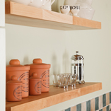 Our beech shelves are light in colour and very hard-wearing - a perfect storage solution for solid wood kitchens.