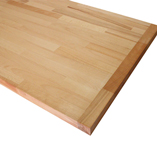 Beech worktop with end cap.