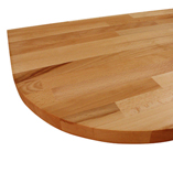 Beech worktop with 260mm radius corner.