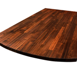 Black American walnut worktop with 100mm ellipse end.