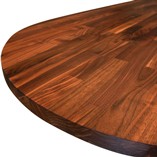 Black American walnut worktop with 300mm ellipse end.